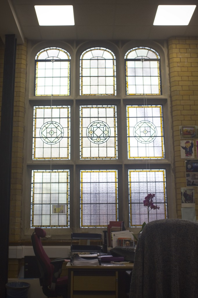 Old Library Stained Glass Window in office
